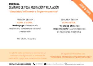 Programa seminario de yoga y meditación. Agosto 2020