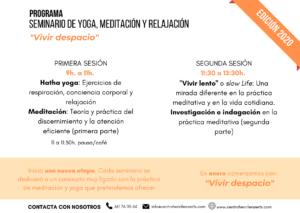 """Programa Seminario de yoga, meditación y relajación - """"Vivir despacio"""" (enero)"""